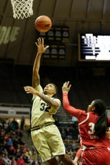 Purdue forward Ae'Rianna Harris (32) goes up for a layup during the third quarter of a NCAA women's basketball game, Tuesday, Dec. 31, 2019 at Mackey Arena in West Lafayette.