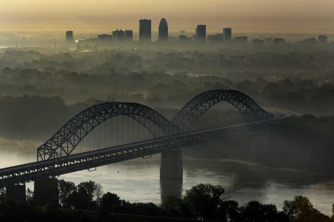 No traffic is seen on the Sherman Minton Bridge after inspectors closed the bridge after defects were found in 2011.
