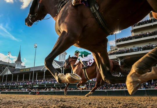 Horses race at the Breeders' Cup Classic at Churchill Downs on Nov. 3, 2018. The Kentucky Derby is scheduled at the site for May 2 this year, and a trio of prep races were held over the past weekend that could determine which horses make it to the Derby.