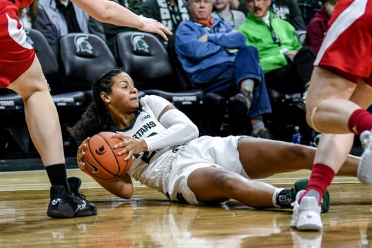 Michigan State's Moira Joiner looks to pass the ball during the fourth quarter on Tuesday, Dec. 31, 2019, at the Breslin Center in East Lansing.