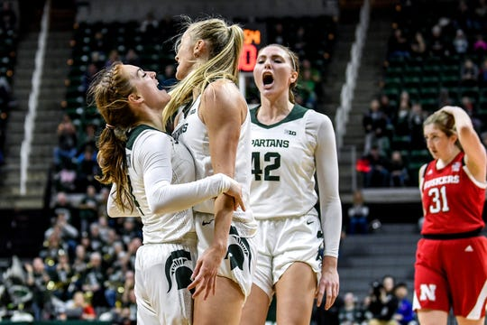 Michigan State's Taryn McCutcheon, left, celebrates with teammates Tory Ozment, center, and Kayla Belles after McCutcheon's layup that put the Spartans up 6 points over Nebraska in overtime on Tuesday, Dec. 31, 2019, at the Breslin Center in East Lansing.