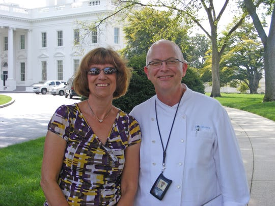 The Association of Food Journalists 2012 conference, held in Washington, D.C., included a visit to the Obamas' White House vegetable garden. Stohs is pictured here with White House chef Bill Yosses.