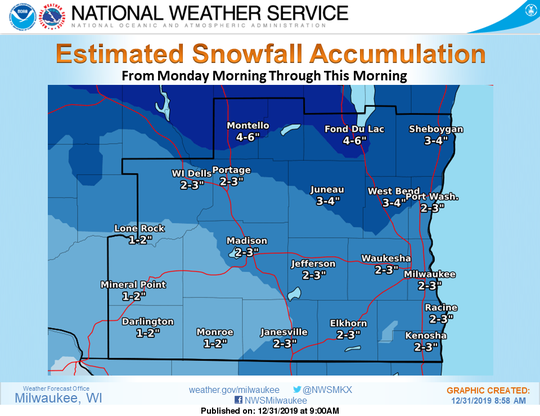 Areas of southern Wisconsin picked up anywhere between 2 and 6 inches of snow from a storm that moved through on Monday.