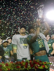 Oregon players celebrated their victory over Wisconsin in the 2012 Rose Bowl.