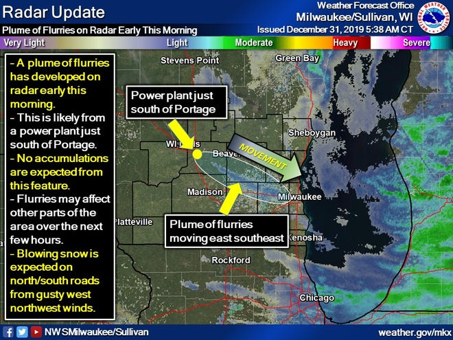 Weather conditions were just right for a power plant in southern Wisconsin to generate a plume of snow flurries that was captured by National Weather Service Doppler radar early Tuesday.
