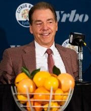 Alabama head coach Nick Saban during the Citrus Bowl coaches press conference in Orlando, Fla., on Tuesday December 31, 2019.