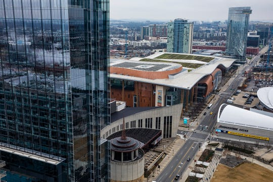 Aerial photo of Demonbreun showing Music City Center among other buildings taken from the office of Bass, Berry & Sims on Wednesday December 18, 2019.