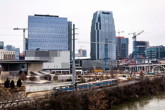 Photo of the Music City Star and the Nashville skyline taken from the Korean Veterans Bridge Wednesday December 18, 2019.