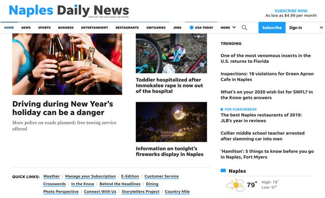 A screengrab of naplesnews.com