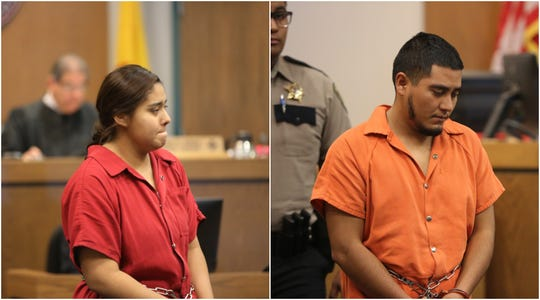 Idali Genoveva Ortiz-Muñoz, left, and Christian De La Torre, appear in separate hearings in Third Judicial District Court, Tuesday, Dec. 31, 2019. The parents, each accused of child abuse, will be jailed until their trials.