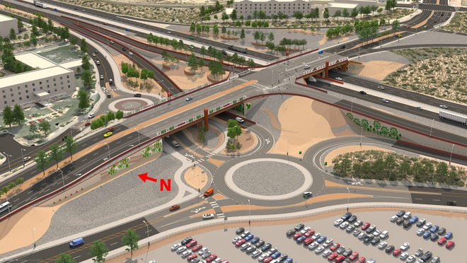 An artist's rendering of the completed I-25/University project.