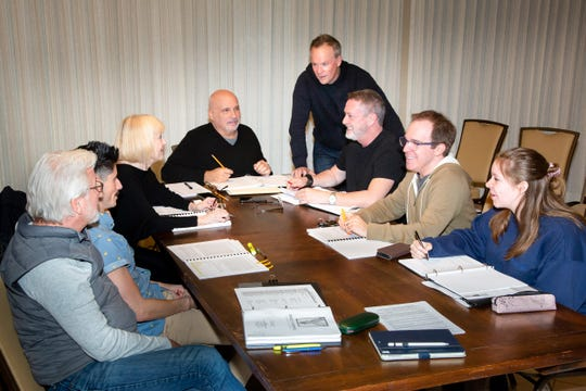 "Rehearsing for Dezart Performs' production of ""Daniel's Husband"" includes (L-R) Chuck Yates, Hanz Enyeart, Deborah Harmon, Michael O'Malley, Darin Anthony, David Youse, Michael Shaw and Sierra Barrick."