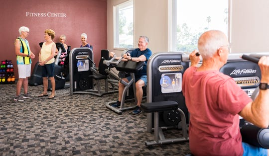 The fitness center provides a variety of exercise equipment for people of any strength and endurance level.