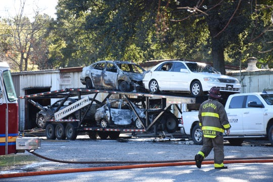 Firetrucks responded to a vehicle and commercial fire in the 2400 block of Fernwood Avenue on Tuesday morning.