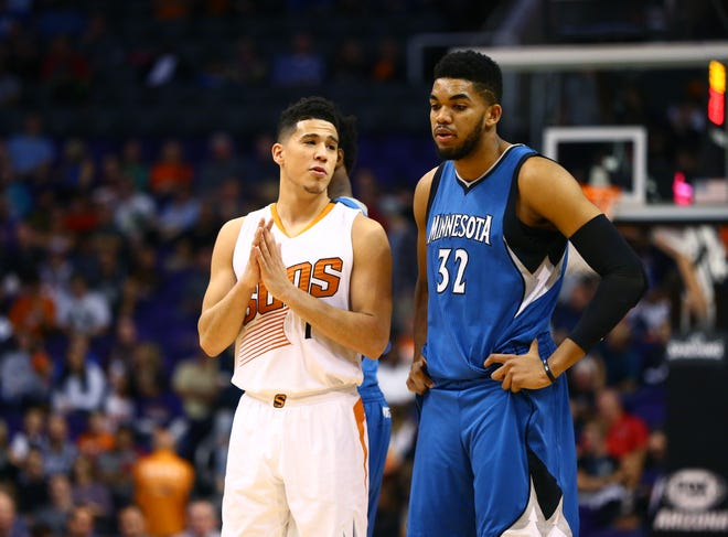 Devin Booker and Karl-Anthony Towns were teammates in college at Kentucky.
