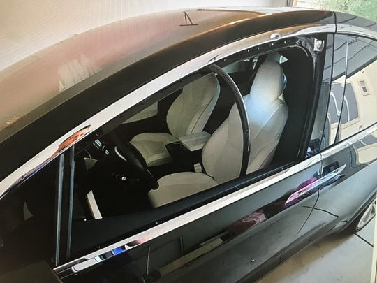 A photo shows where a bullet hit Brandon Boudreaux's vehicle during a drive-by shooting in Gilbert.