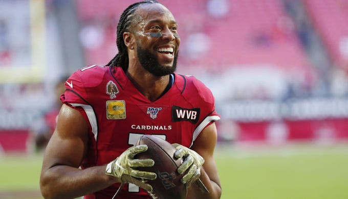 Wide receiver Larry Fitzgerald is nearing the end of his 16th NFL season, all with the Cardinals.