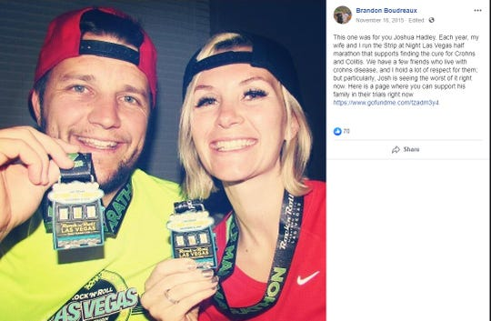 A 2015 Facebook post by Brandon Boudreaux shows Boudreaux and his wife, Melani.