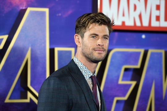 El actor australiano Chris Hemsworth llega al evento para fanáticos de Avengers Endgame.