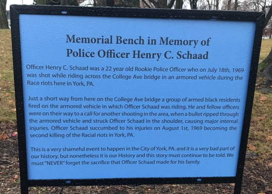 This marker was placed in Farquhar Park by a former York resident. He put this beside a memorial bench for Henry Schaad, killed in the 1969 race riots in the city.