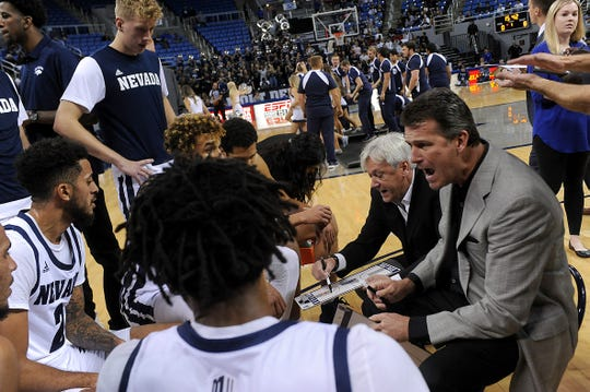 Nevada coach Steve Alford encourages his players as they take on Cal State East Bay during their basketball game at Lawlor Events Center in Reno on Oct. 19, 2019.