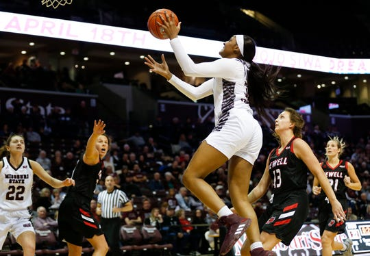 Missouri State sophomore Jasmine Franklin takes the ball to the basket for a field goal during a game against the William Jewell Cardinals at JQH Arena on Tuesday, Dec. 31, 2019.