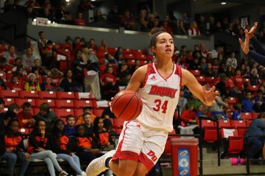 Senior Hailey Diestelkamp scored 37 points and grabbed 10 rebounds in Drury's game against Lindenwood on Saturday.