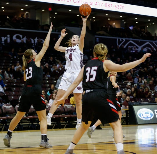 Missouri State junior Abby Hipp takes the ball to the basket for a field goal during a game against the William Jewell Cardinals at JQH Arena on Tuesday, Dec. 31, 2019.