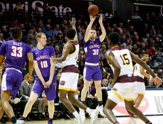Evansville's Noah Frederking shoots a three-pointer as the Purple Aces take on the Missouri State Bears at JQH Arena in Springfield, Mo. on Tuesday, Dec. 31, 2019.