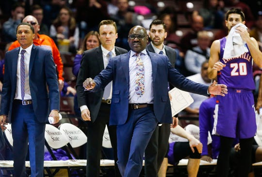 Bennie Seltzer leads the Evansville Purple Aces during a game against the Missouri State Bears at JQH Arena on Tuesday, Dec. 31, 2019.