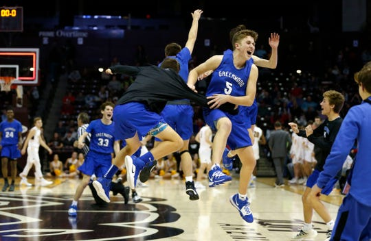 The Greenwood Bluejays beat the Kickapoo Chiefs to claim the Gold Division championship during the Blue and Gold Tournament at JQH Arena on Monday, Dec. 30, 2019.