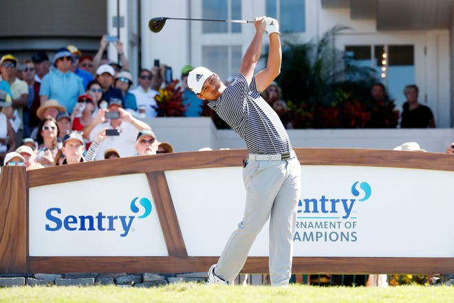 Xander Schauffele tees off on the first hole during the final round of the Sentry Tournament of Champions last January in Maui, Hawaii. Sentry Insurance, based in Stevens Point, has extended its sponsorship of the tournament for 10 years.