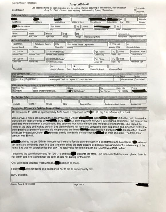 Affidavit provided by Fort Pierce Police