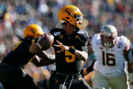 ASU's Jayden Daniels during the game against FSU in the Tony the Tiger Sun Bowl Tuesday, Dec. 31, at the Sun Bowl in El Paso.