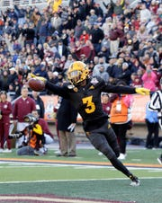 Arizona State defensive back Willie Harts celebrates his interception and touchdown against Florida State on Tuesday, Dec. 31, 2019, in the Tony the Tiger Sun Bowl. Arizona State won 20-14 in front of 42,412 fans in El Paso.