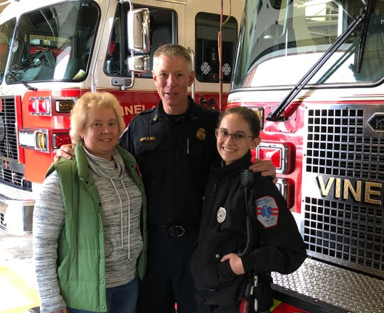 Fire Captain David Bell is joined by his wife, Debbie, and daughter, Katherine, on his last day as a Vineland firefighter. He retired effective Dec. 31, 2019.
