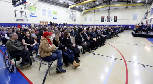 Hundreds of area residents attended a vigil at the Jewish Community Campus in West Nyack Dec. 30, 2019. The vigil, sponsored by the Jewish Federation and Foundation of Rockland County was held as a show of solidarity after the stabbing of five Hasidic Jews attending a Hanukkah celebration in Monsey Saturday night.