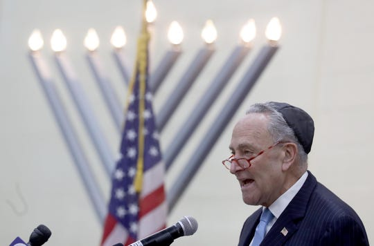 Senator Chuck Schumer spoke to the hundreds who attended a vigil at the Jewish Community Campus in West Nyack Dec. 30, 2019. The vigil, sponsored by the Jewish Federation and Foundation of Rockland County was held as a show of solidarity after the stabbing of five Hasidic Jews attending a Hanukkah celebration in Monsey Saturday night.