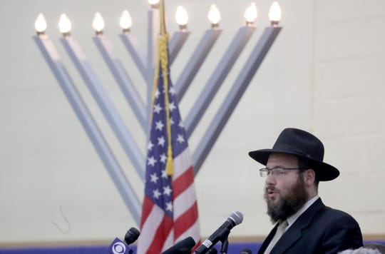 Rabbi Shmuel Gancz of Chabad of Suffern spoke to the hundreds who attended a vigil at the Jewish Community Campus in West Nyack Dec. 30, 2019. The vigil, sponsored by the Jewish Federation and Foundation of Rockland County was held as a show of solidarity after the stabbing of five Hasidic Jews attending a Hanukkah celebration in Monsey Saturday night.