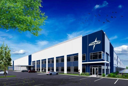 A rendering of Medline Industries Inc.'s proposed $110 million, 1.3-million-square-foot warehouse along Route 416 in the Town of Montgomery. The project is currently before the Town of Montgomery Planning Board.