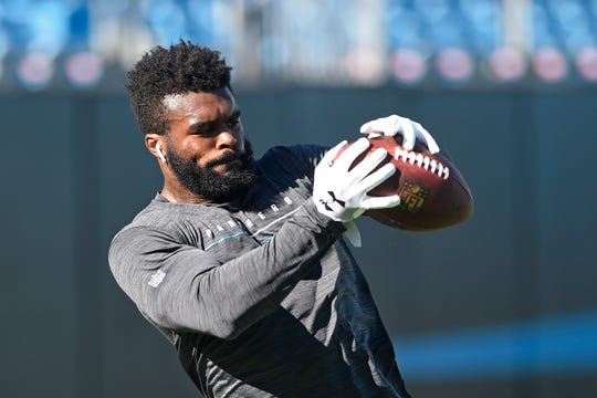 Carolina Panthers Elijah Holyfield reaches for a pass during the first half of an NFL preseason football game in August. (AP Photo/Mike McCarn)