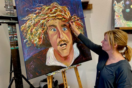 Gene Wilder.jpg. Rachel Liles painting a portrait of Gene Wilder for hew newest exhibit running Friday Jan. 10 through Mar. 13 at the Galleria at the Forum. Admission is free.