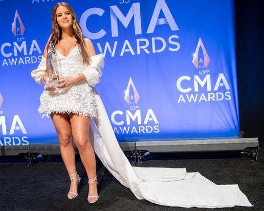 Maren Morris with her Album of the Year award backstage in the press room during the 53rd Annual CMA Awards at Bridgestone Arena in Nashville, Tenn., Wednesday, Nov. 13, 2019.