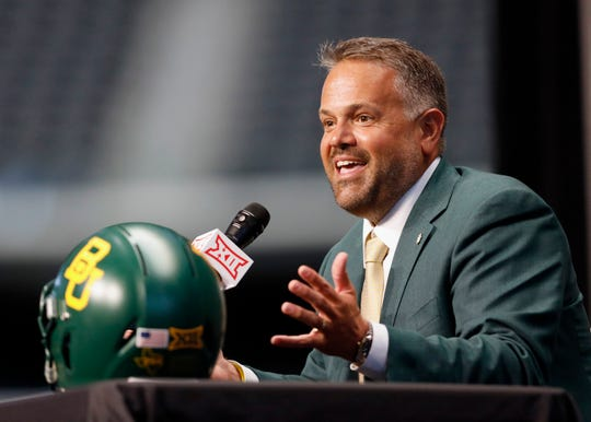 In this July 16, 2019, file photo, Baylor head coach Matt Rhule speaks during the Big 12 Conference NCAA college football media day, in Arlington, Texas. Rhule was selected as the AP All-Big 12 Coach of the Year, Friday, Dec. 13, 2019.
