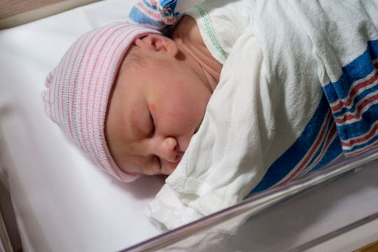 Doug Plaag and Adriana Kelly's daughter rests at Ocean Medical Center in Brick Township.  The yet to be named baby girl born  to the Seaside Park couple at 1:19am was the first baby born in Ocean County in the New Year.