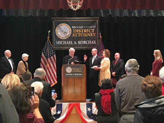 Michael Korchak was sworn in as Broome County DA Wednesday, Jan. 1, 2020.