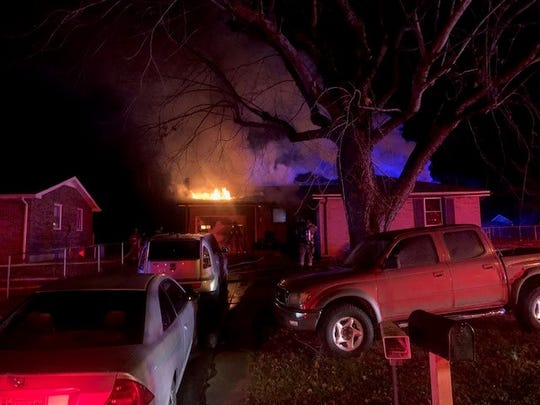 Clarksville Fire Rescue responds to a fire on Storybrook Drive Tuesday night, Dec. 31, 2019.