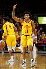Iowa State guard Prentiss Nixon reacts after sinking a 3-point basket during the first half of the team's NCAA college basketball game against Florida A&M, Tuesday, Dec. 31, 2019, in Ames, Iowa. (AP Photo/Matthew Putney)