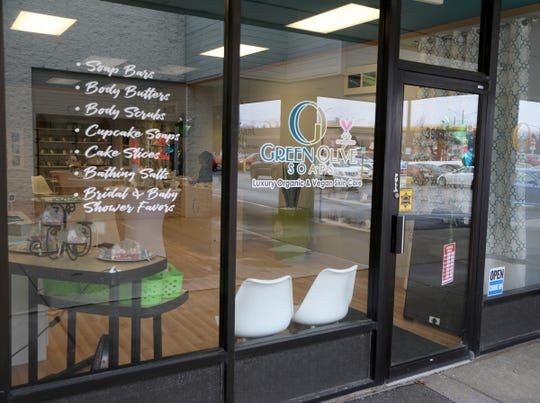 The front entrance of Green Olive Soaps in Troy, Mich.