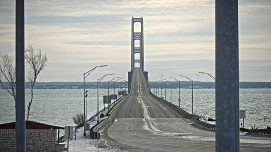 A photo of the Mackinac Bridge during the closure on Wednesday, Jan. 1, 2020.